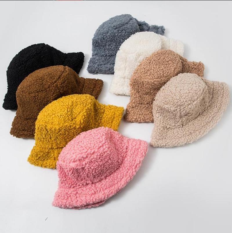 Winter Bucket Hat Lamb Faux Fur Girls Warm Hats Thickened Plush Fisherman Hat Panama Casual Caps Kids Gift 8 Colors WQ380