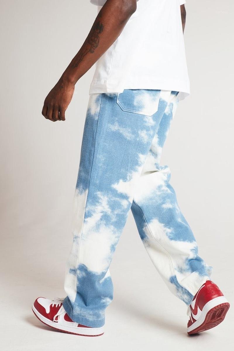 Top Verkauf von Produkt in 2020 neue Herrenhose lose weiße gewaschene gerade Tie-Dye-Denim-Hose Herrenbekleidung1
