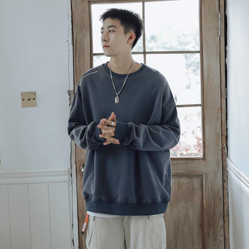 Hommes pulls surdimensionné de la mode coréenne lâche à manches longues à manches longues occasionnelles de cou