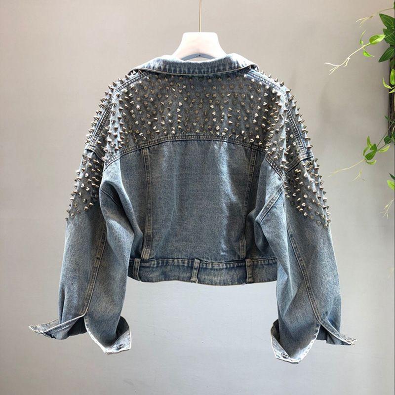Frauen Denim Jacke Harajuku Top Pailletten Kleidung Streetwear Weibliche Herbst Winter Basic Jean Jackets