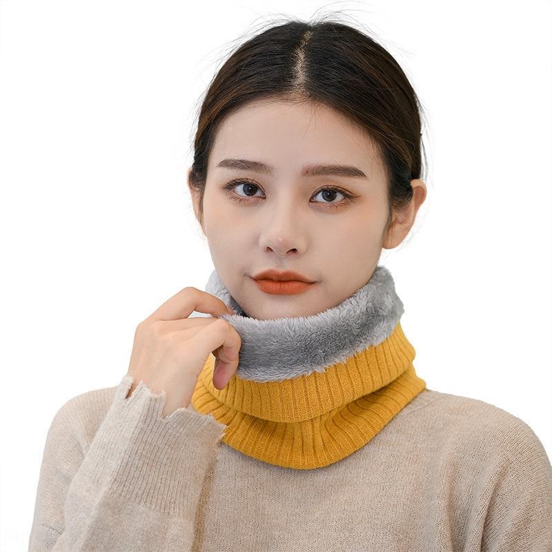 kmz04 осенью и зимой корейские женские утолщенные термальные теплые шарфскарф шарф сплошной цвет шеи защитный рукав вязаный шерстяной воротник