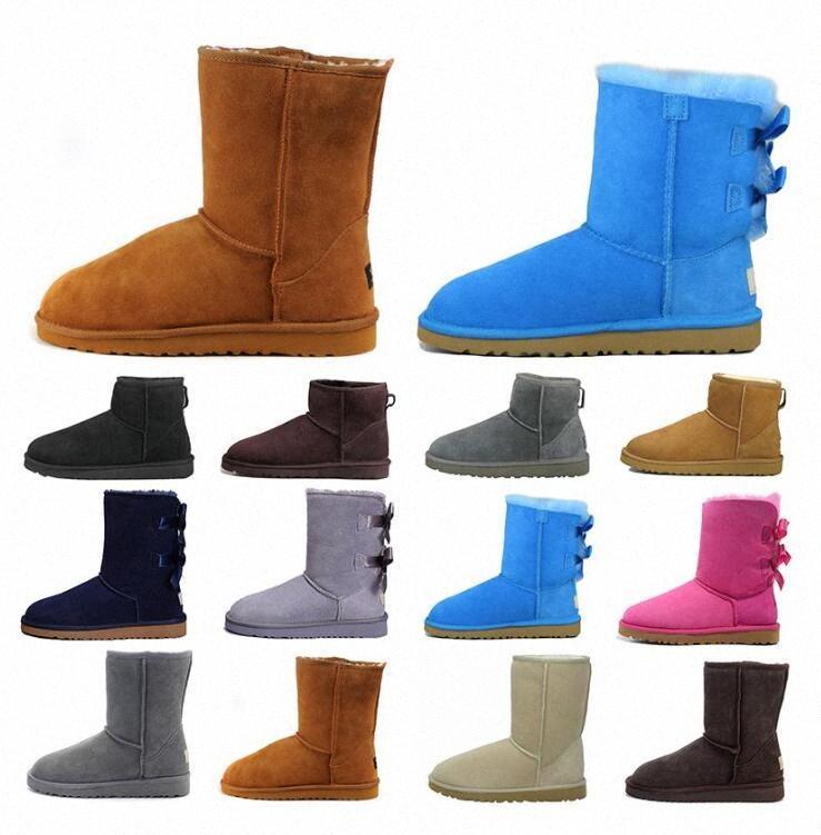 Australia Nuovo 2021 WGG Castagno Mezza caviglia Stivali per le donne Ragazze Red Grigio Caffè Snow Boot Bailey Bowknot Boot Scarpe invernali caldi EUR 3 J6N8 #