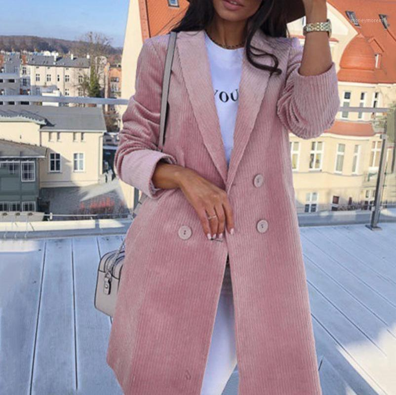 Femmes Casual Blazer Jacket Couleur Solide Turn Collier À Manches longues Moyenne Long Manteau Bouton Bouton Bouton Bouton Poche Casual Jacket1