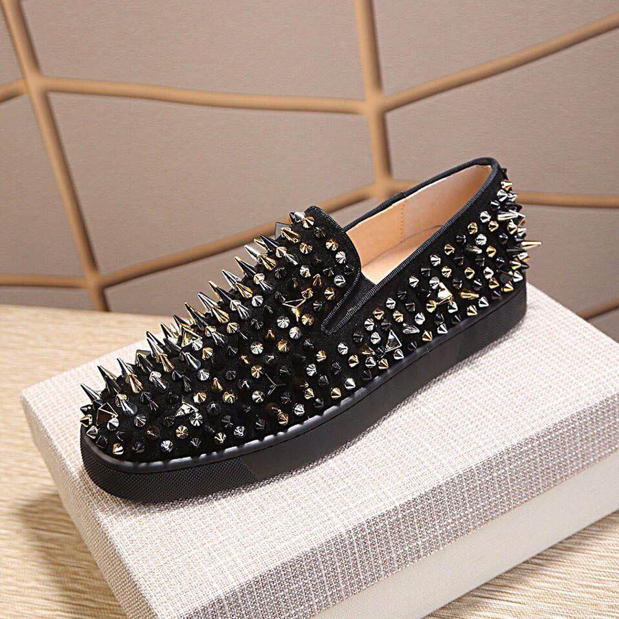 منصة الأحذية التألق الماس المسامير المسامير الأزرق الأبيض الأسود الانزلاق على مصمم أحذية رياضية جلد طبيعي عارضة أحذية رجالية