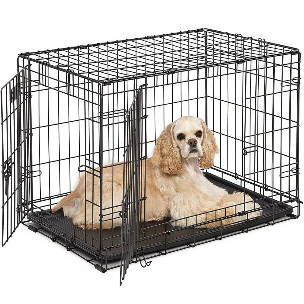 WACO 30-inch Single-Door Folding Metal Dog or Pet Crate Kennel with Tray,Pet Kennel Cat Dog Cage Steel Crate Animal Playpen