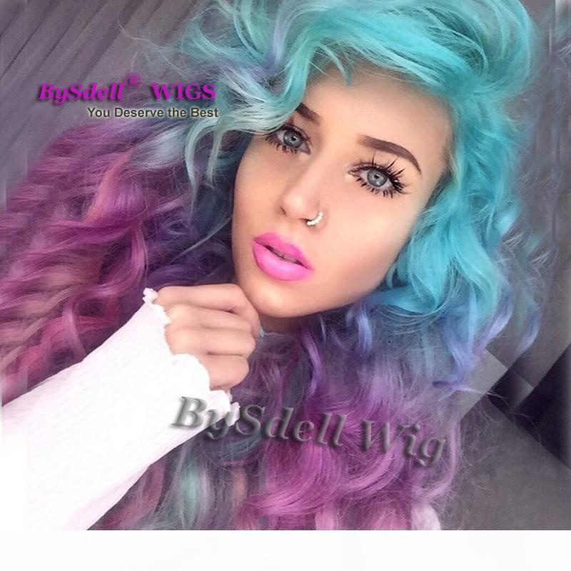 Сексуальная единорог красочный стиль русалки стиль синтетический пастельный лед синий омбре фиолетовый цвет глубокая вьющиеся волна волосы не кружевной парик кружевной парик
