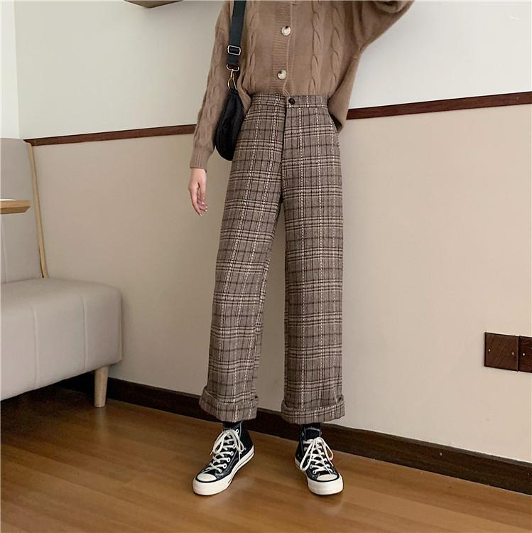 Harajuku Style Autumn Women Fashion Plaid Ankle-length Leggings Pants Casual Loose High Waist Hip Pants Leggings