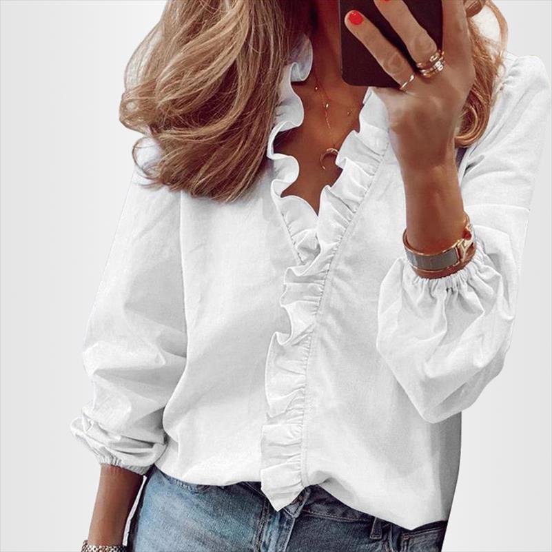 Блуза Рубашки Office Lady 2021 Весна Летнее Печать С Длинным Рукавом Ruchn Women Blouses Sexy V Шеша Короткая Рукав Пуловер Топы