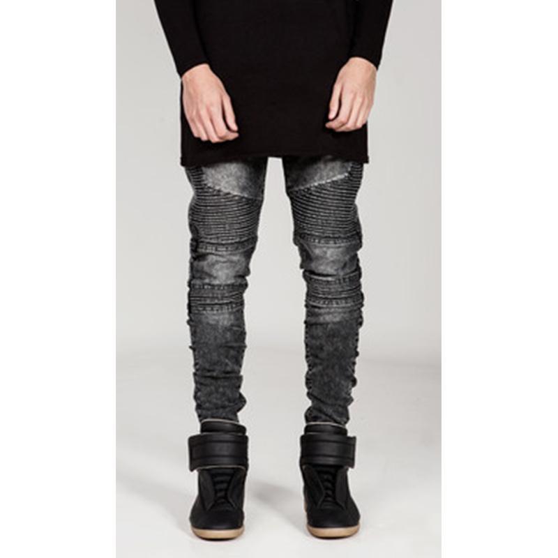 Jeans pour hommes des rides américaines cousues slim ajustement pantalon petit pied micro micro élastique grande tendance décontractée