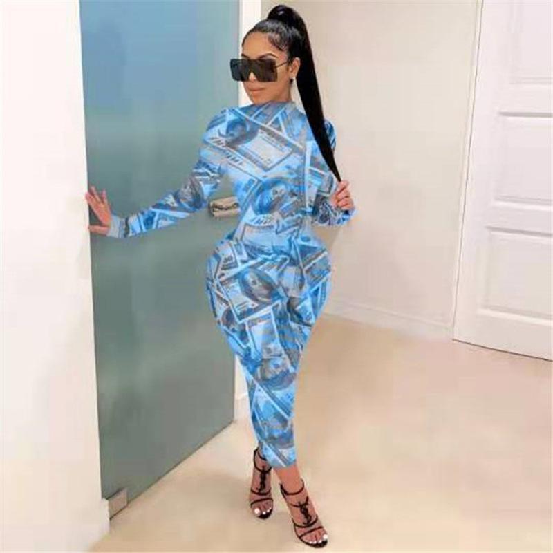 Womens Dollsr Bodycon Kleid Rundhalsausschnitt Langarm Slim Fit Kleider Weibliche Packung Hüftbekleidung