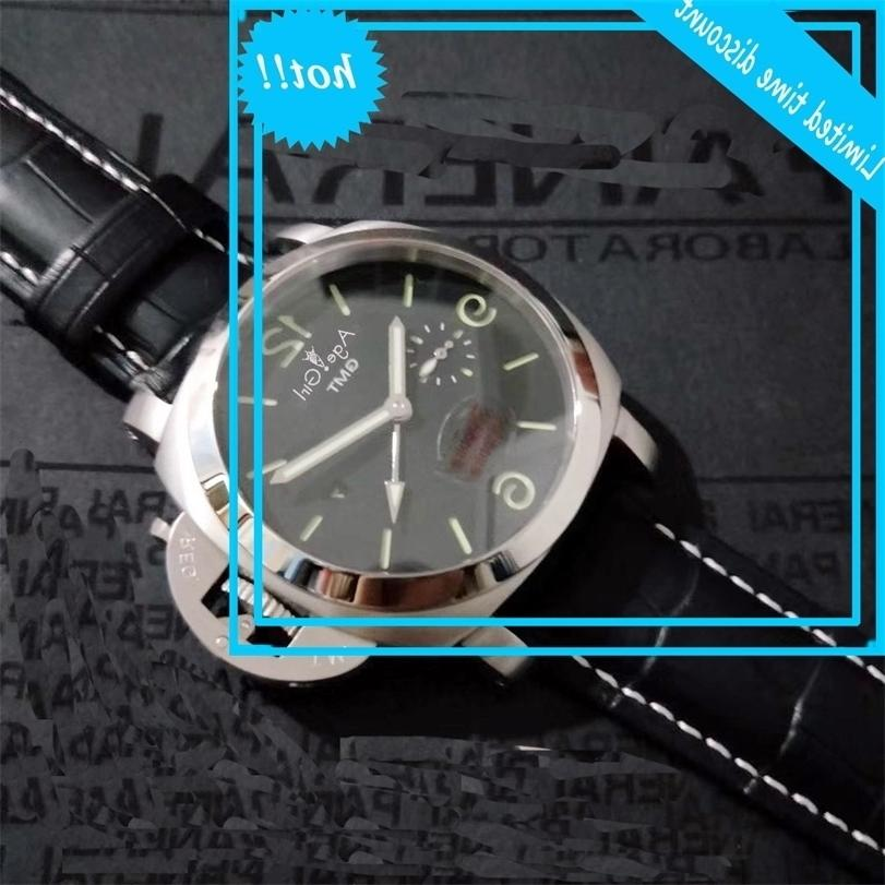 Классические новые мужчины автоматические механические сапфировые стекло GMT 1950 3-дневный RVS черные кожаные часы освещения 44 мм
