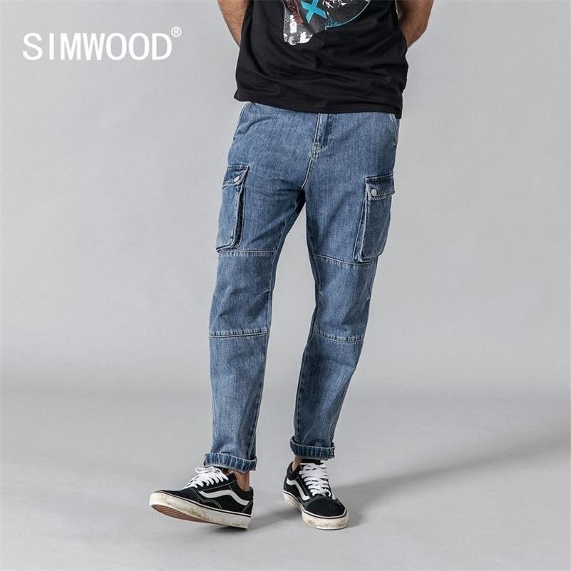 Simwood Bahar Yeni Kargo Kot Erkekler Moda Hip Hop Eklenmiş Sokak Kıyafeti Ayak Bileği-Uzunluk Kot Pantolon Gevşek Pantolon 190332 201111
