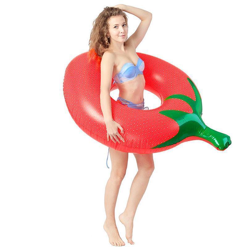 2020 150 cm Erdbeer Schwimmen Ring für Frauen Erwachsene Aufblasbare Badekreis Pool Float Sommer Strand Party Spielzeug Zubehör J1210