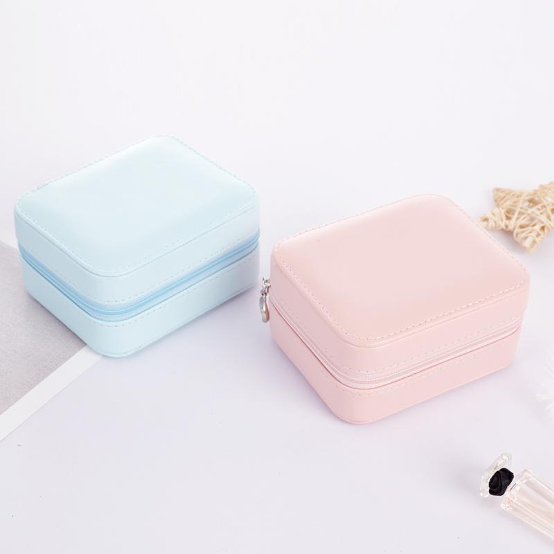 Bolsas de joyería, bolsas Pretty Leather Travel Portable Mini Stud Pendiente Anillo caja de anillo con espejo Pantalla Maquillaje Organizador