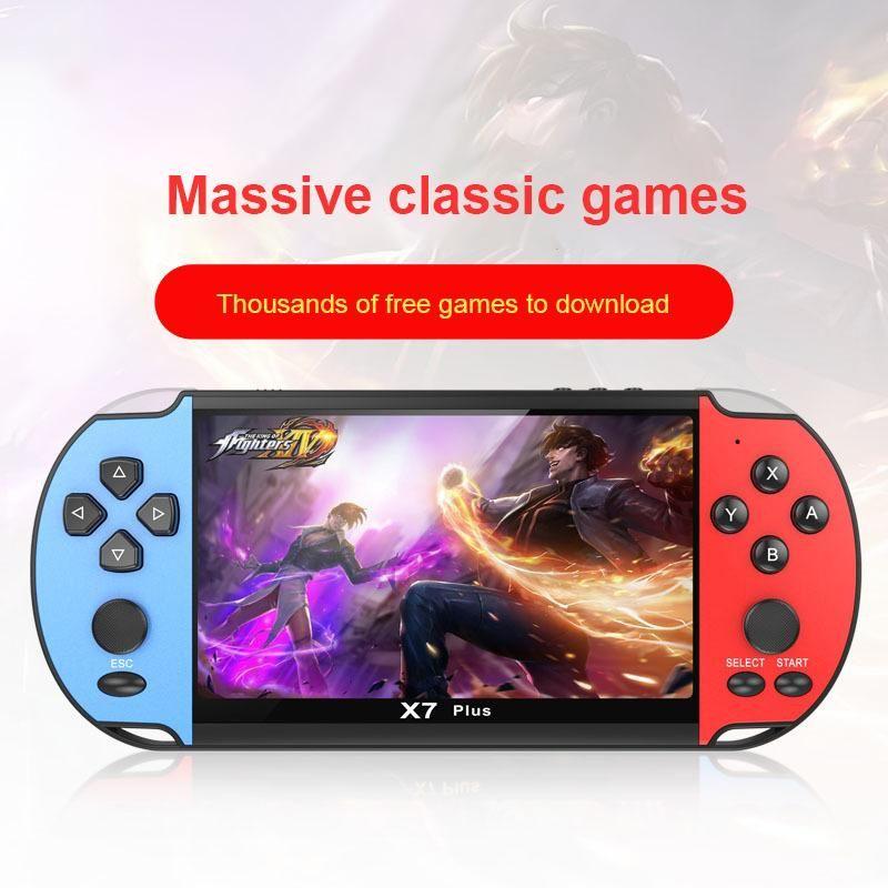 Jogadores portáteis Jogadores X7 Plus 5.1inch Handheld Player Retro Console 8GB Rocker Duplo para Crianças