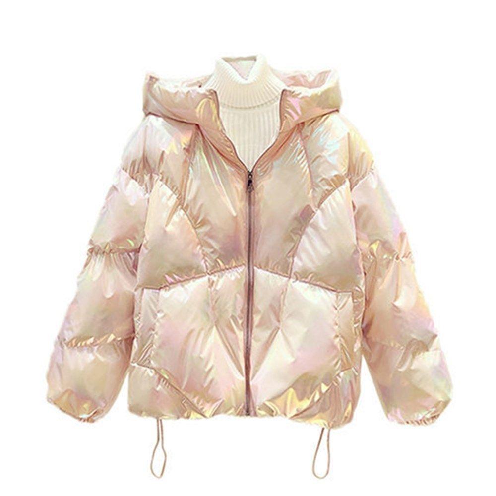 Поверхность Яркая хромированная Одежда Одежда для женщин Средний и Короткая зимняя Одноразовая Дверная Хлопок Мягкая Куртка