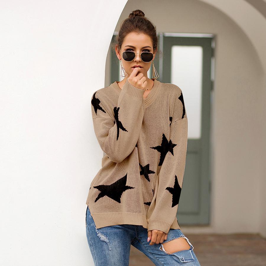 Женский осенний свитер пентаграмма звезда вязать V-образным вырезом с длинным рукавом свободные Япония женские свитера женские пуловеры Tops VD31001 201130