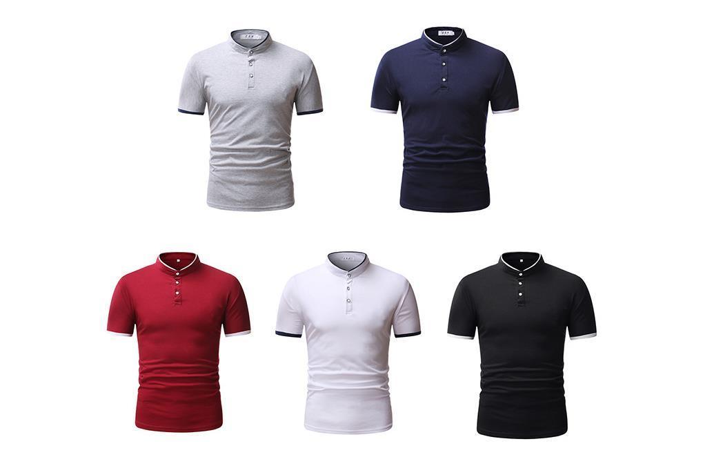 Moda piccola colletto quadrato T-shirt Solid Color Summer Summer a maniche corte Plus Size Moda casual da uomo