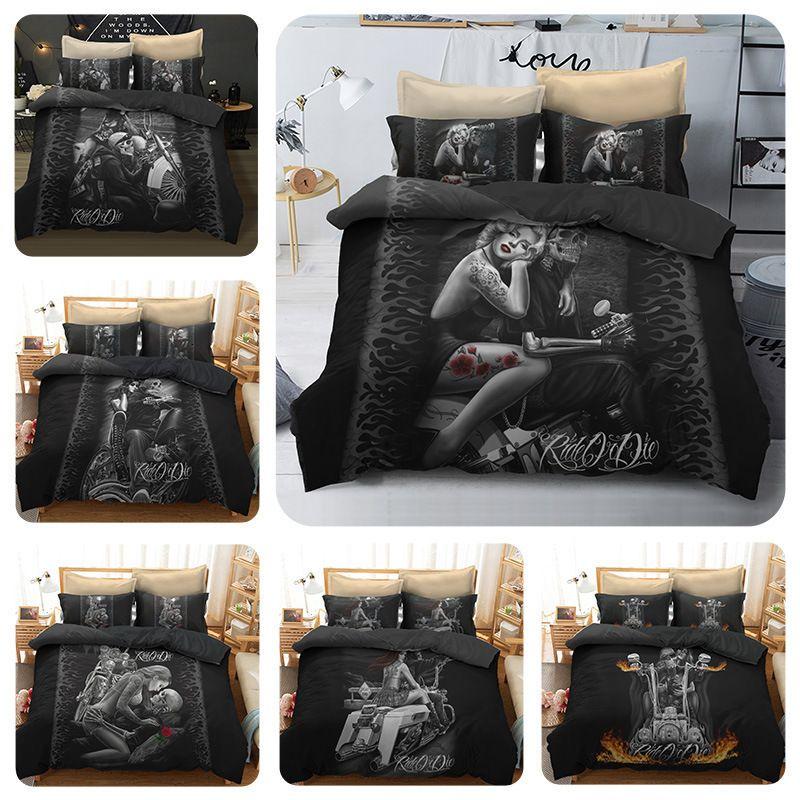 3D Women And Skull Bedding Sets Sugar Skull And Motorcycle Duvet Cover Bed Cool Skull Print Black Bedclothes Bedline Y200417