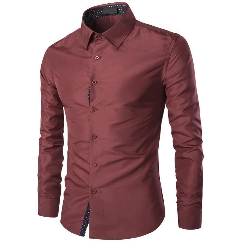 Camisas Casuales de Hombres 2021S Treetwear Camisa Masculina Vestido de calle Slim Smand Sólido Estilo británico Hombre Hombre Otoño Jóvenes Moda Moownuc