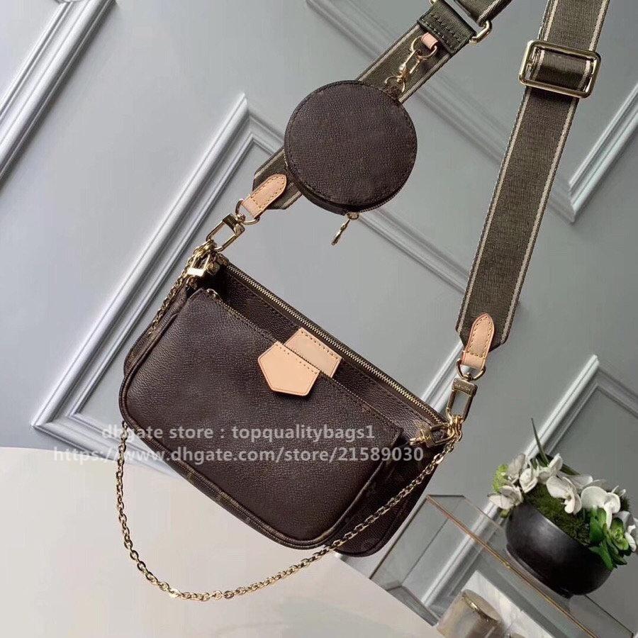 New Fashion M44823 Designer di alta qualità 3piece Pack Genuine Leather Donne Borsa a tracolla Lettera Classic Lettera Women Portafoglio Crossbody Bag Shipin