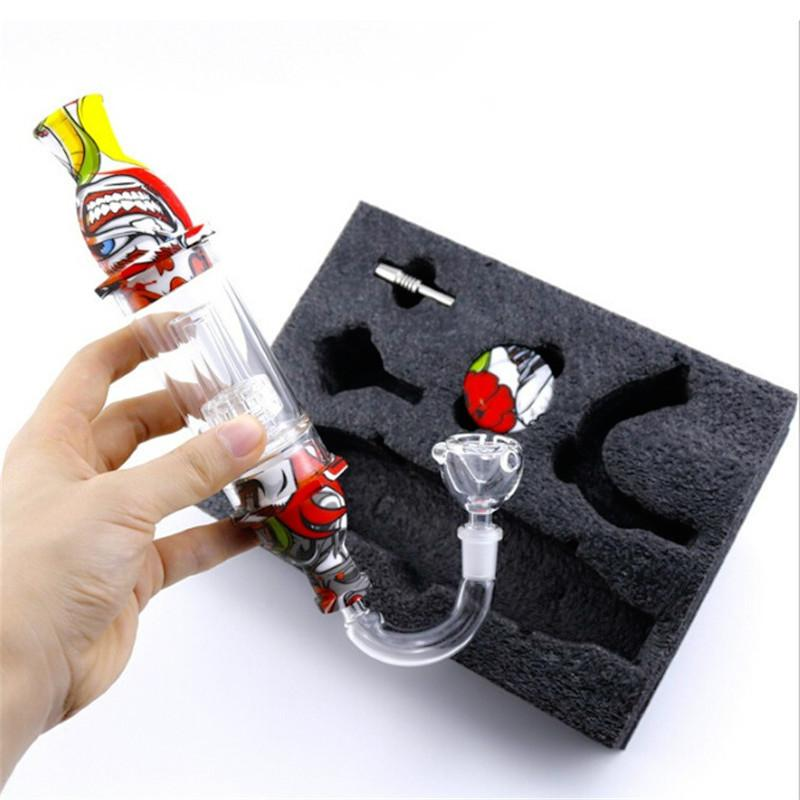 Colorful Lighthouse Dab Straw Kit Smoking Pipe with 10mm Nail Glass Attachment Collector Silicon Container Combo Kit for Dry Herb Wax
