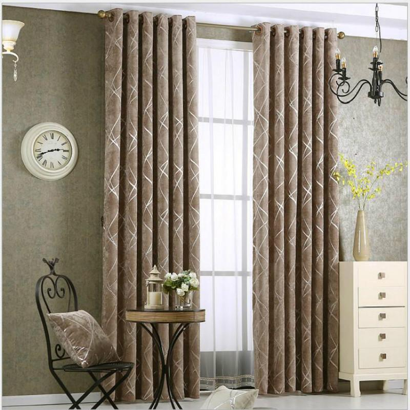 Simple thick chenille fabric Drapes for living room curtain silver leather beige coffee jacquard shade Luxury Blackout Curtains