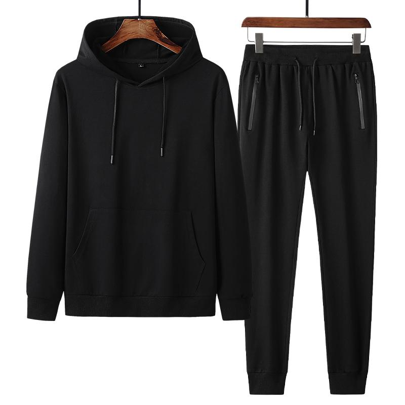 Men's suit autumn winter new cotton sports men's hooded trousers two-piece middle-aged and elderly leisure suit