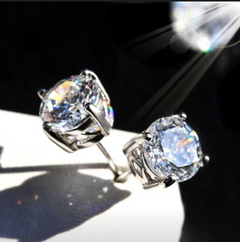Piedra grande cuatro 5-9mm Pendientes de diamantes simulados redondos para mujeres Hombres Hembras Real 925 Silver Stud Pendientes Joyería
