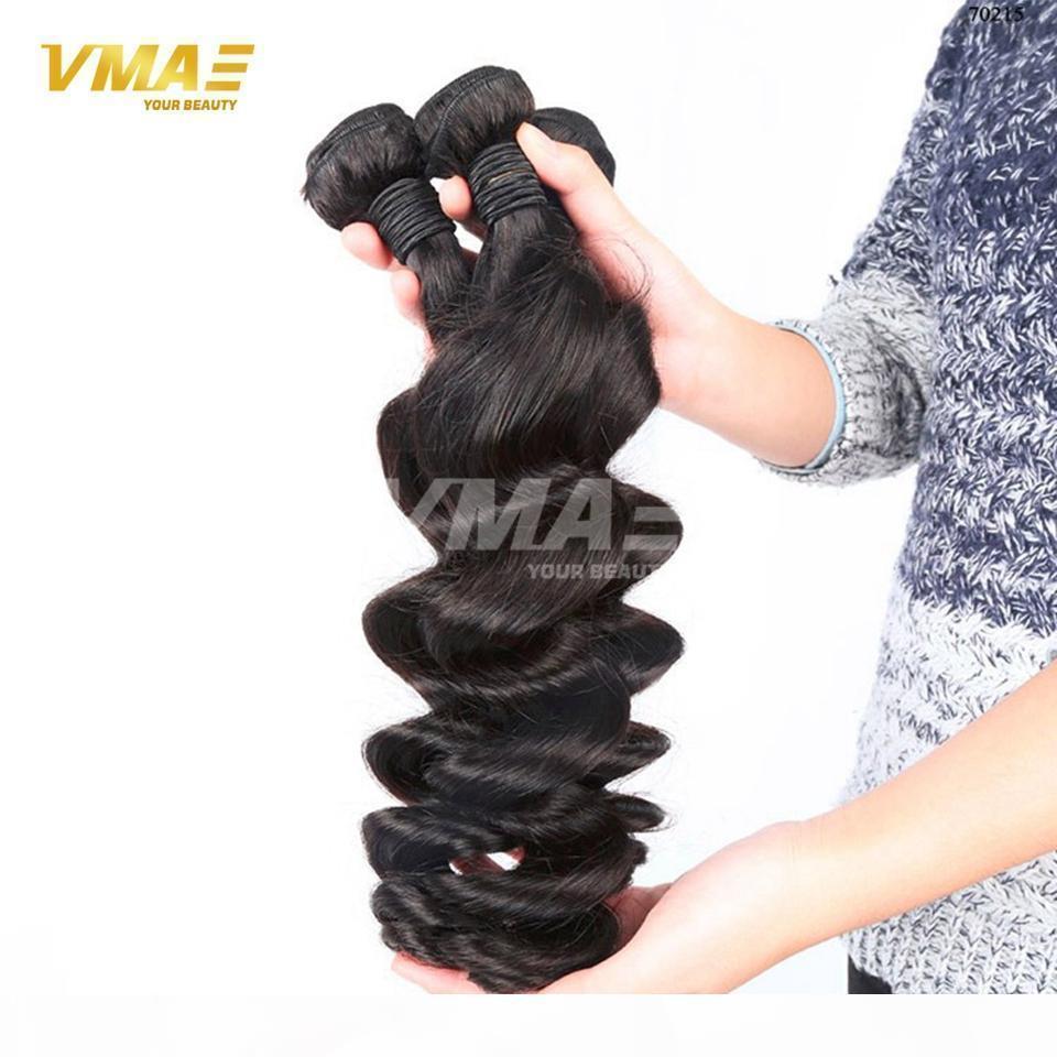 Brasileño Ola suelta Virgin Hair Human 3 paquetes Sin procesar Solos Wave Hair Extension 100% Original Hair Trama VMAE Extensions OPP