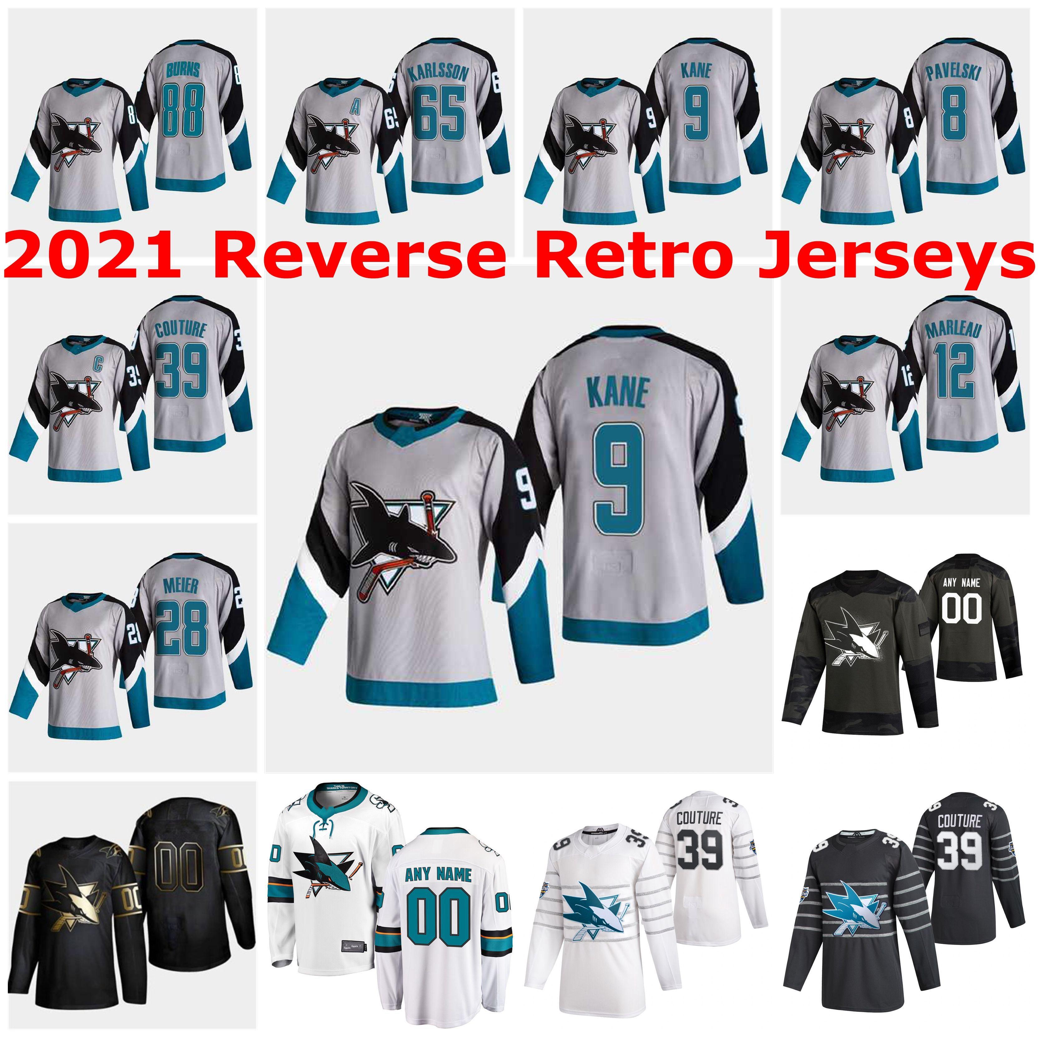 San Jose Sharks 2021 Reverse Retro Jerseys Barclay Goodrow Jersey Noah Gregor Tomas Hertl Evander Kane Melker Karlsson Custom Stitched