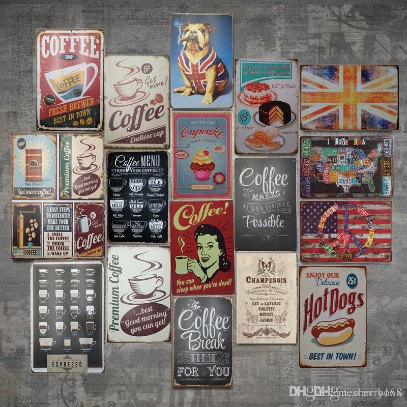 2021 Café vintage métal métal panneau affiche Plaque bar Pub Club Café Accueil Café Plaque mural Décor Art Panneau Panneau Affiche Barre Décoration Décor Decor Abox