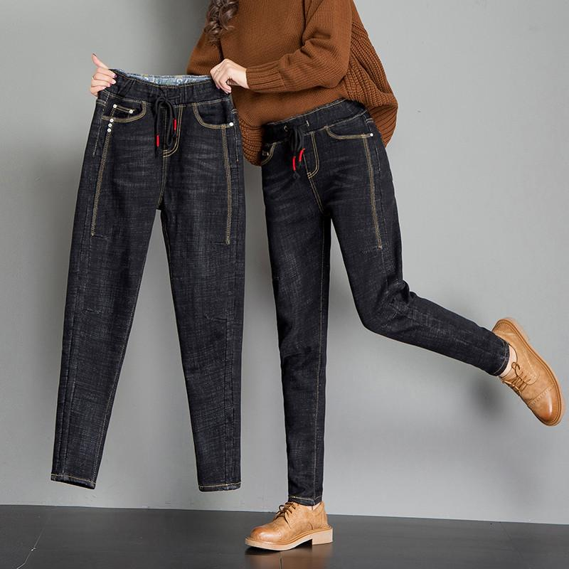 New Woman Lent Herfst Fashion Vintage Denim Jeans Femminile Casual Vita Alta Elastic Women's Urina libro Broek Plus Size