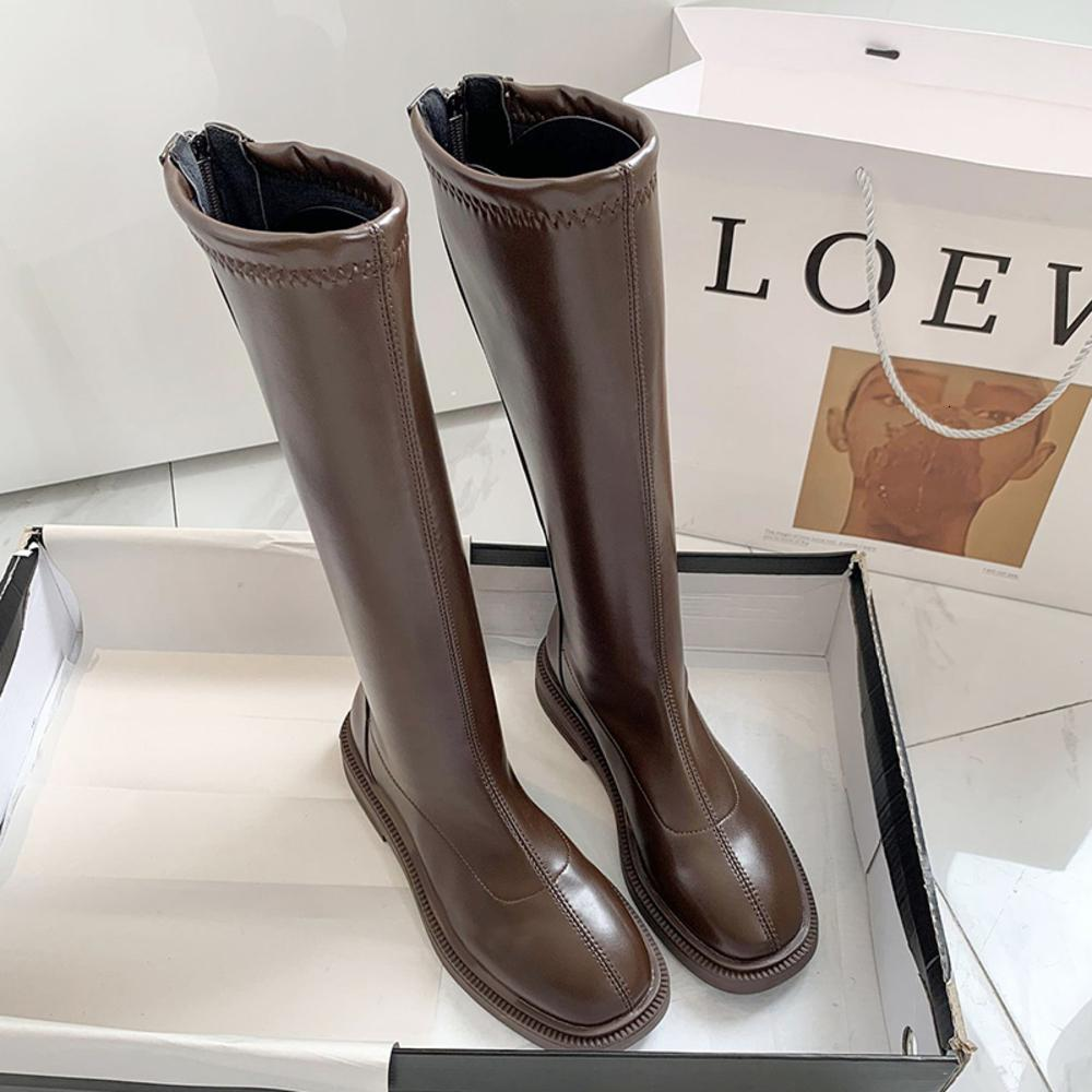 2020 الشتاء الأنيق النساء اللطيف لوحة طويلة الدافئة بونت منخفضة السنانير الركبتين عالية laarzen لينة فارغة مربع في سن المراهقة أحذية حزب