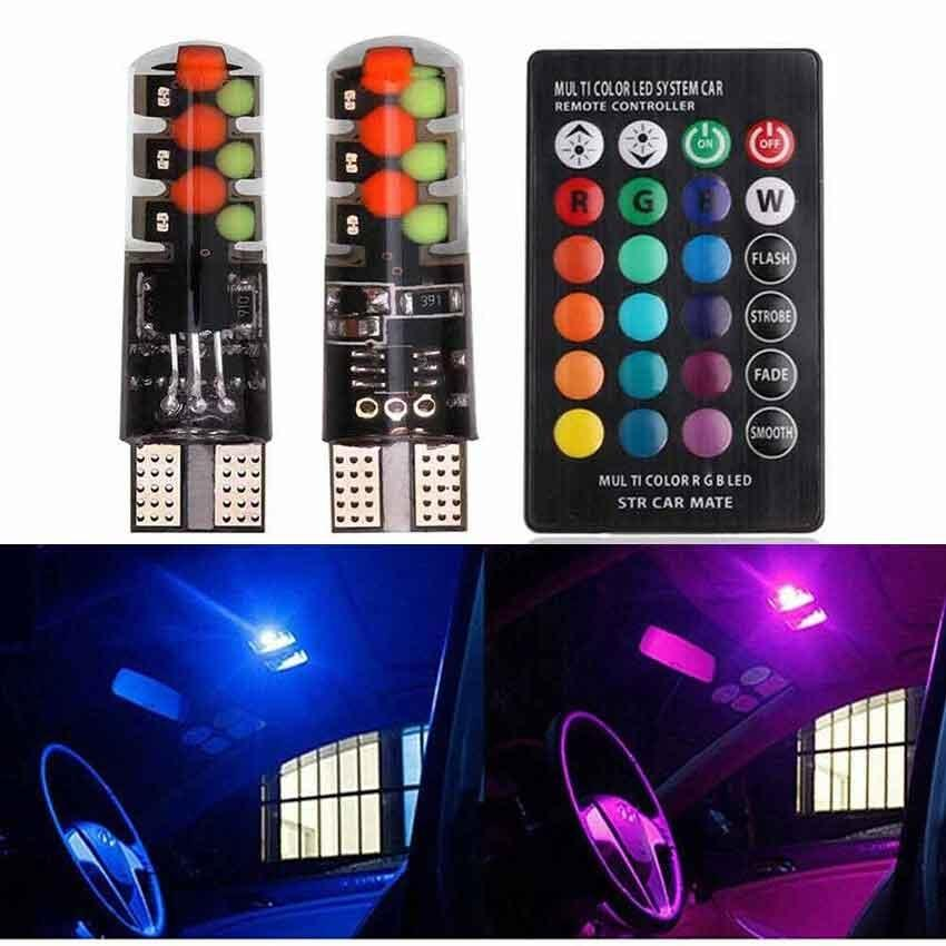 T10 COB RGB LED 6SMD Car Wedge Side Multicolor Light Bulbs w/Remote Control 2PCS