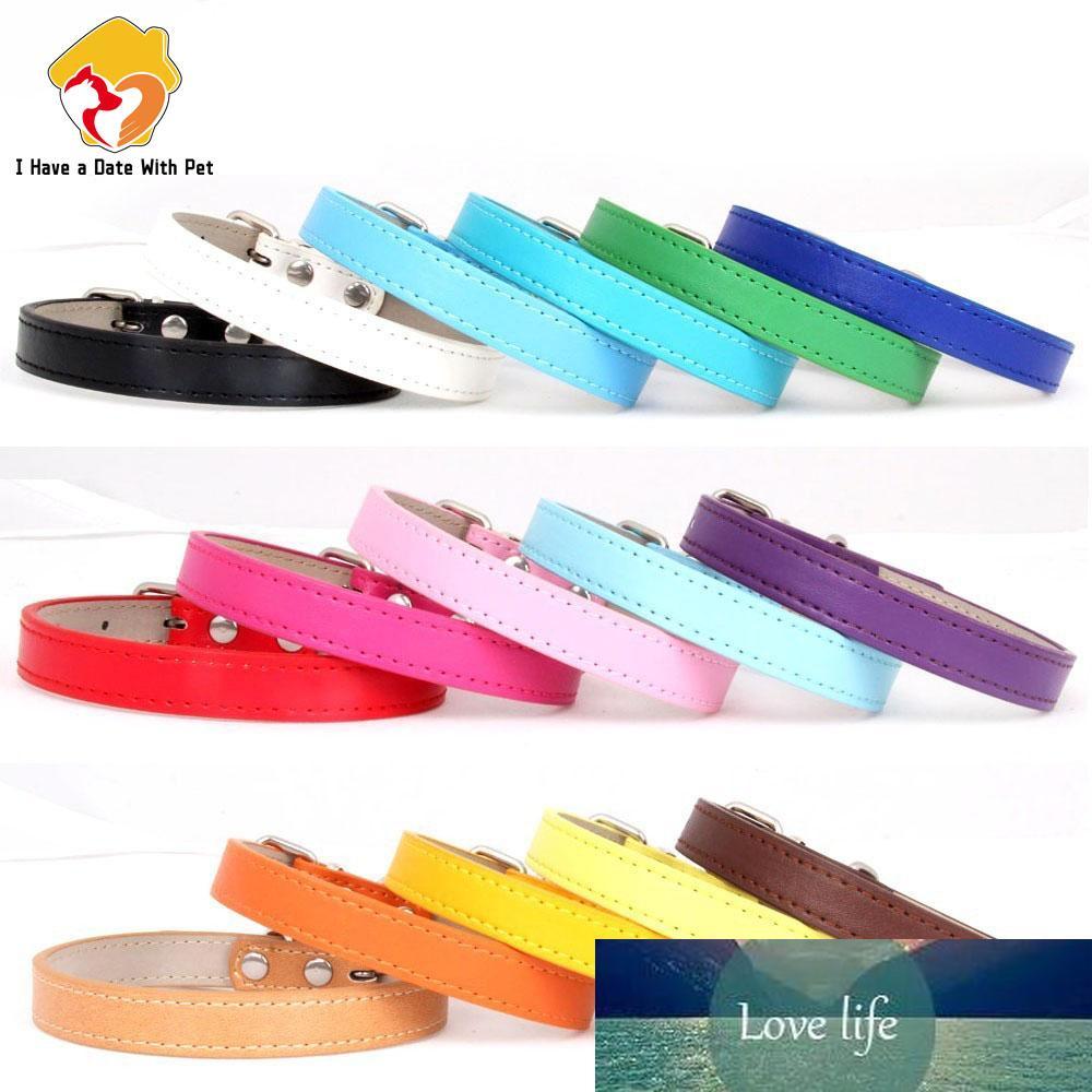 Hot! Haustierprodukt Weiche Leder Hundehalsband Einstellbare Welpenkatze Halskette Leine Gurt Für kleine Medium Big Dog 16 Farbe Haustierbedarf