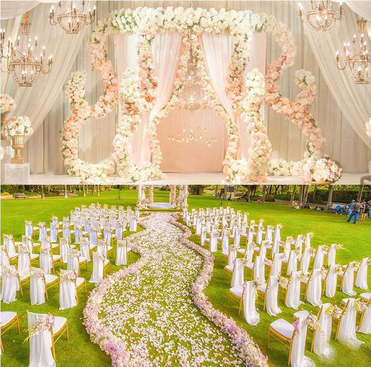25 * 100см Цветочные ряды Wedding дорога ведет с длинным Таблица Centerpieces Arch дверь шелк розы свадьба фонами декора