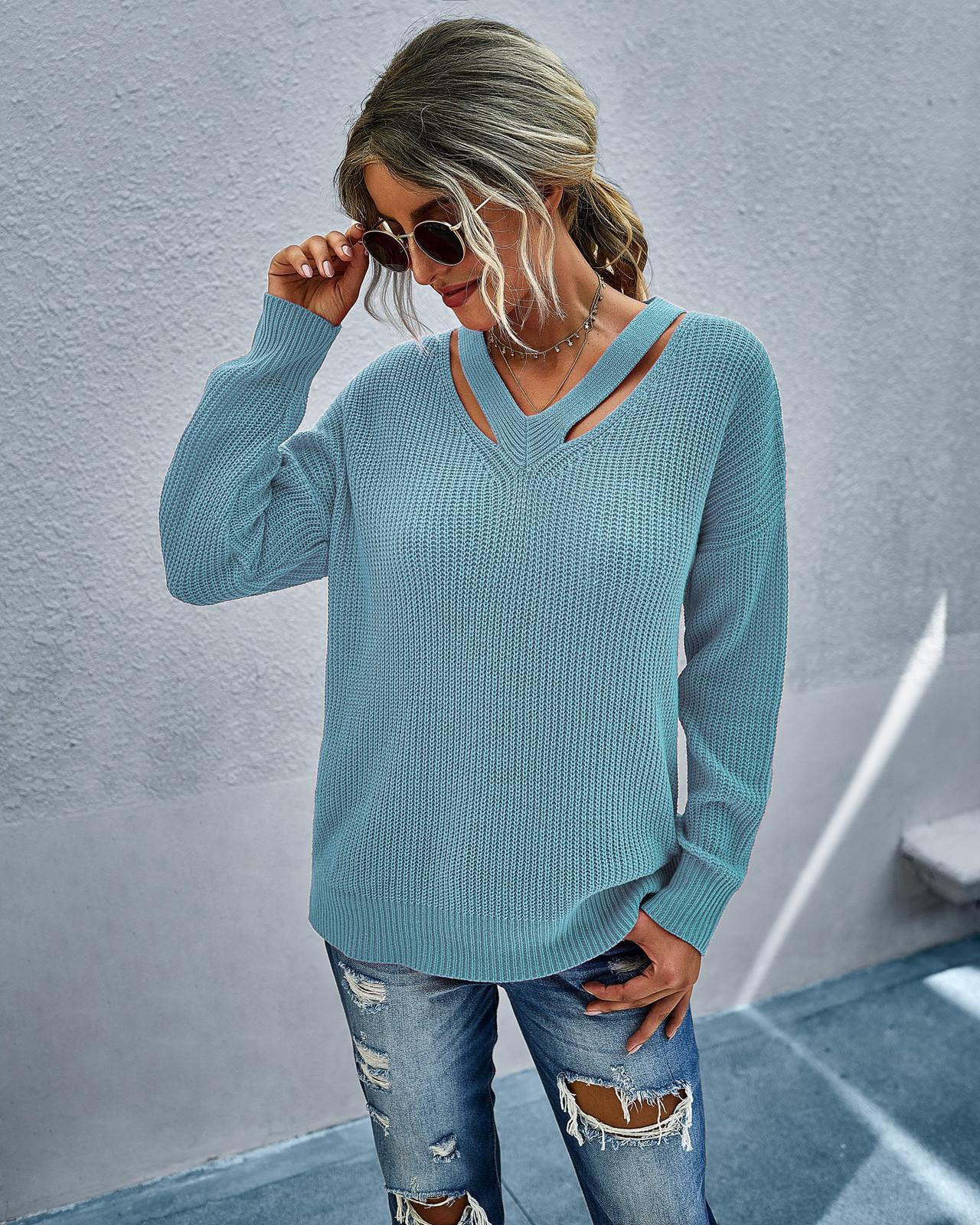 Женщины, выдолбленные повседневные свитер V шеи с длинным рукавом осень красивые дамы твердые одежды
