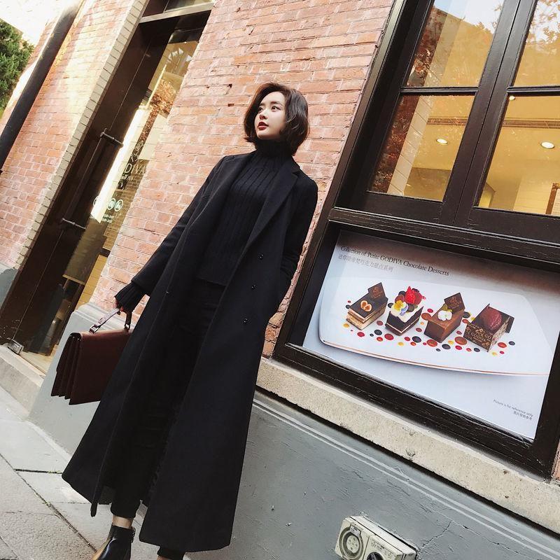 2021 novas mulheres soltas casaco de lã coreano casual elegante jaqueta de lã casaco feminino oversize high street longo sobretudo h30