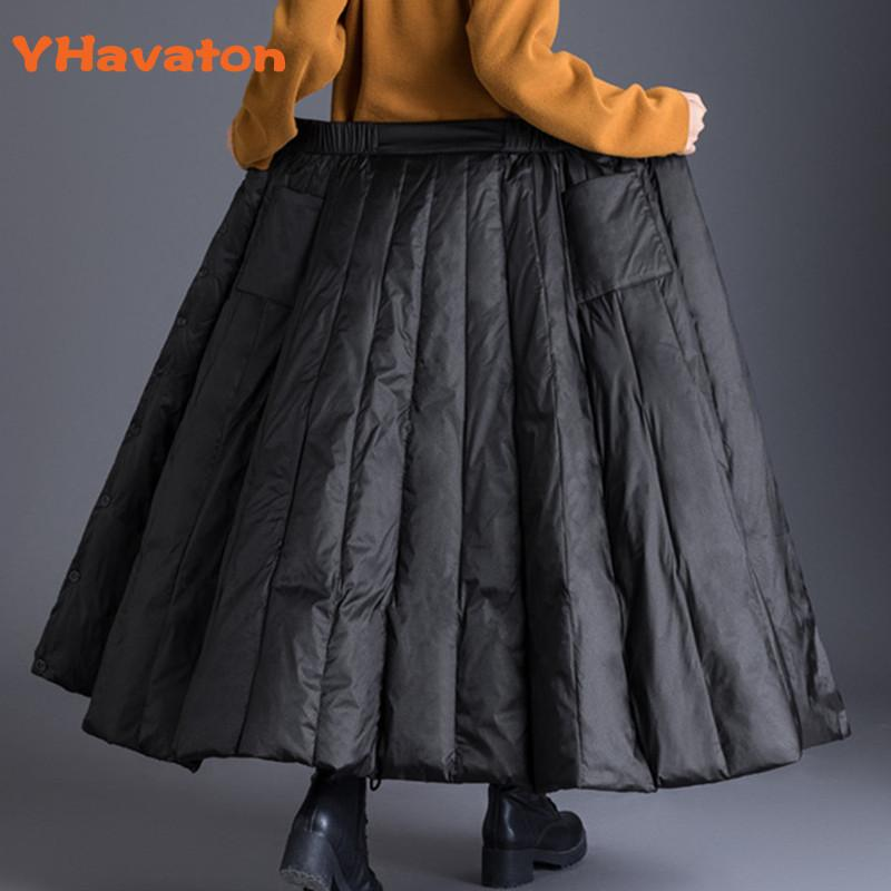 Duck Down plus size winter maxi skirts womens black vintage high waist clothes casual loose long skirts for women 3XL 200922