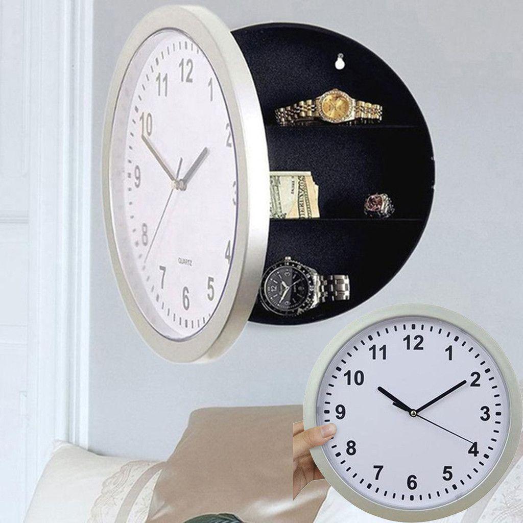 Caja de almacenamiento Reloj de pared Reloj escondido Secreto Cajas fuertes ocultos Reloj escondido para el dinero Efectivo Organizador de joyería Unisex de alta calidad 19JUL1 Z1123