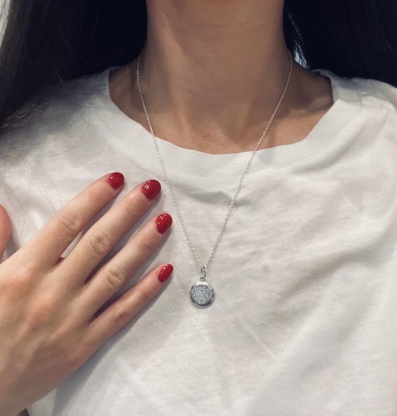 브랜드 새로운 925 스털링 실버 시그니처 펜던트 목걸이 Pandora CZ 다이아몬드 디스크 체인 목걸이를위한 Pandara CZ 다이아몬드 디스크 체인 목걸이
