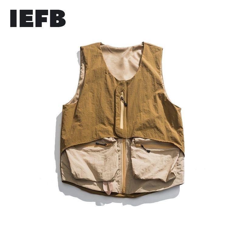 IEFB / Herren tragen Arbeitskleidung Viele Taschen Outwear Weste männliche Herbst lose Reißverschluss v Kragen Weste All-Match 9Y1349 201104