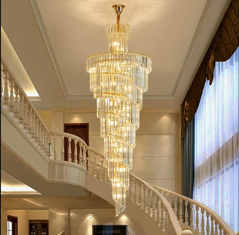 Free shipping Luxury modern crystal chandelier for staircase gold/chrome home decoration loft chandeliers lighting fixtures