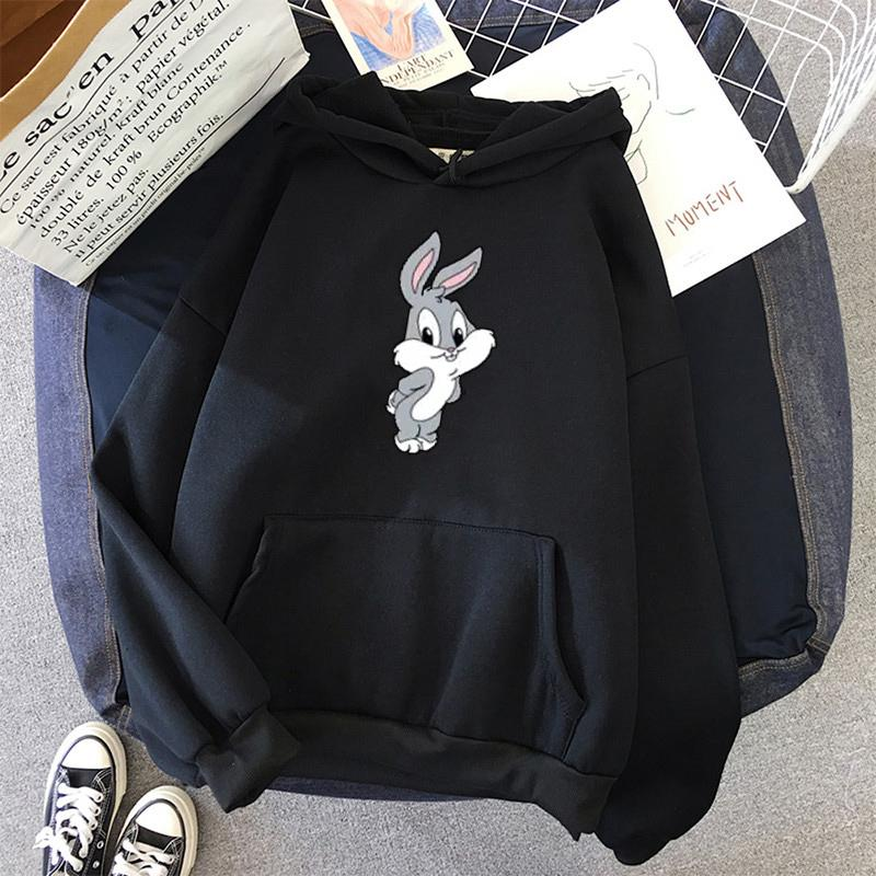 Cartoon Lapin surdimensionné femmes Sweats à capuche drôle Kawaii Sweat-shirt Vêtements Harajuku coréens Streetwear Rose overs Vêtements