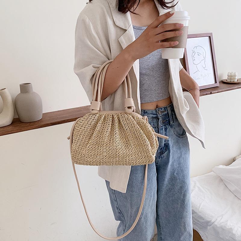 2020 الأزياء حمل حقيبة صغيرة صيف نسج الغيمة للنساء CROSSBODY الكتف حقائب اليد سيدة شاطئ الصليب الجسم Q1118