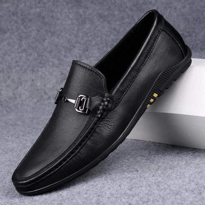 Loafer ayakkabı erkekler hakiki deri moda kayma adam rahat ayakkabılar açık nefes el yapımı eğlence yumuşak erkekler ayakkabı moccasins # wk9w