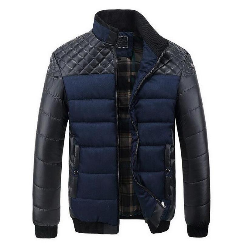 Men's Thicken Warm Jacket Pu Patchwork Jackets Men Winter Coat Striped Leather Outerwear