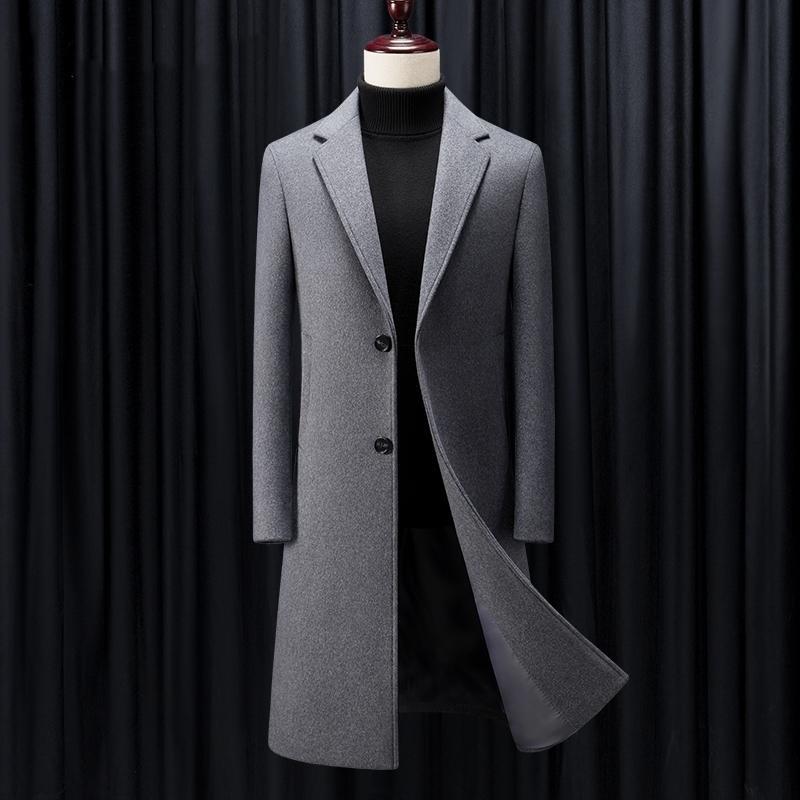 Shan Bao черный серый темно-синий роскошный высококачественный бренд шерстяной пальто зимой толстый и теплый мужской бизнес джентльмен тонкий длинный пальто lj201130