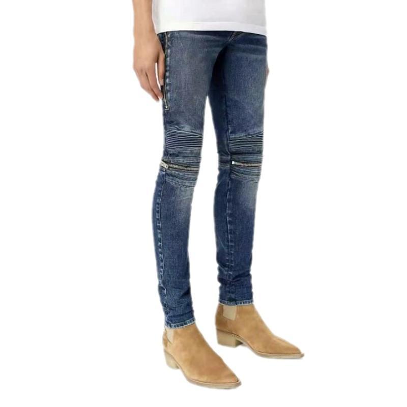 Venta caliente Nuevos Jeans de alta calidad Srping Biker Denim Jeans Men Los Ángeles Street Hole Jeans Slim Flacny Pantalones